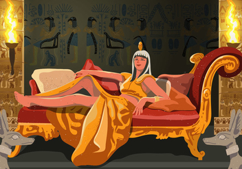 Cleopatra Sitting On Her Throne - vector gratuit #394859