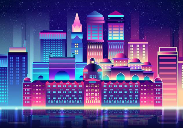 Mumbai At Night - Free vector #394889