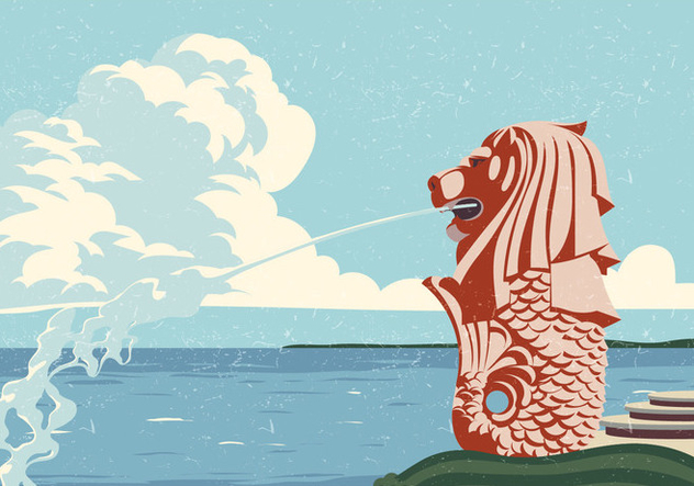Merlion Vintage Card - Free vector #394949