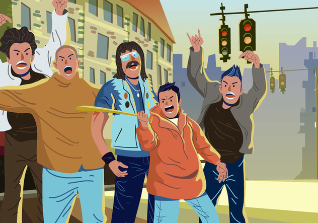 Vector Hooligans On The Street - Free vector #394959