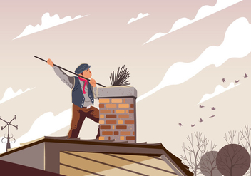 Chimney Sweep Cleaning A Pipe - Free vector #394979