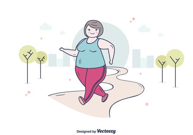 Fat Woman Jogging - Free vector #394999