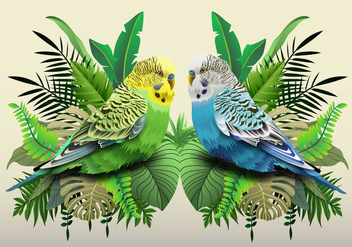 Green And Blue Budgie In Leaves - Free vector #395029