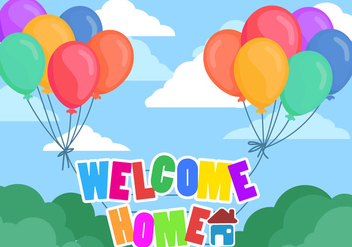 Welcome Home Text With Full Color Baloons - Free vector #395249