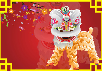 Lion Dance Card Background - Free vector #395269