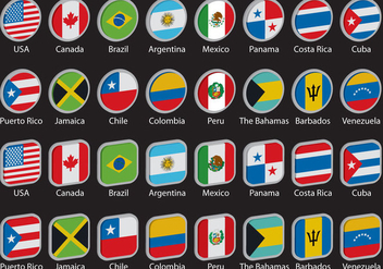 3D Americas Flags - Free vector #395429
