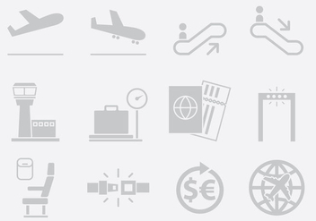 Gray Airport Icons - Free vector #395459