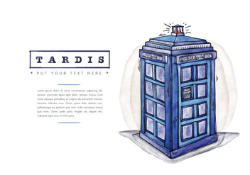 Free Tardis Police Call Box Watercolor Style - vector gratuit(e) #395479