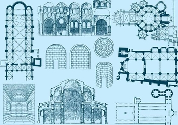 Old Architecture Plan And Illustrations - бесплатный vector #395679