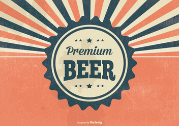 Retro Premium Beer Illustration - бесплатный vector #396119