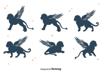 Winged Lion Silhouette Vector - Free vector #396339