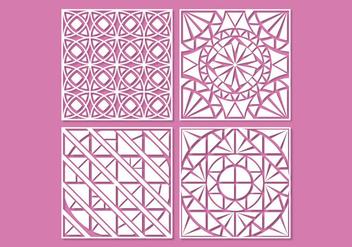 White geometric laser cut ornament vectors - Free vector #396399