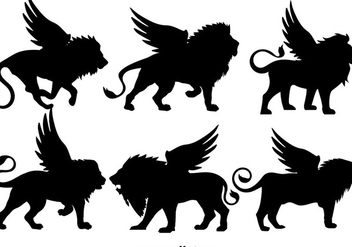 Vector Set Of Black Winged Lions Silhouettes - Free vector #396479