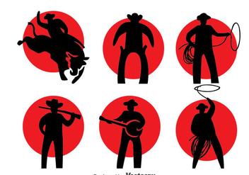 Cowboy Silhouette Vector Set - Free vector #396629