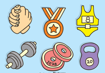Arm Wrestling And Fitness Hand Drawn Icons Vector - Free vector #396729