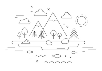 Mountain Landscape Vector Illustration - vector gratuit(e) #397999