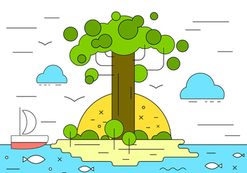 Baobob Island Vector Illustration - Free vector #398009