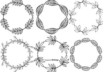 Cute Hand Drawn Sketchy Leaf Frames - Free vector #398209