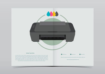 Toner Printer With Ink Illustration - бесплатный vector #398599