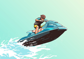Wave Jumping Jet Ski Vector - Free vector #398719