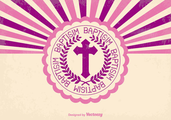 Pink Retro Baptisim Card - бесплатный vector #398749