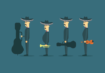 Mariachi Mexico Character Illustration - бесплатный vector #398949