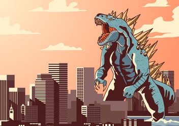 Godzilla in Town Vector - Free vector #399119