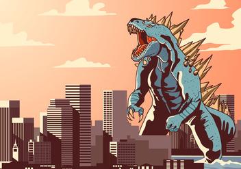Godzilla in Town Vector - Kostenloses vector #399119