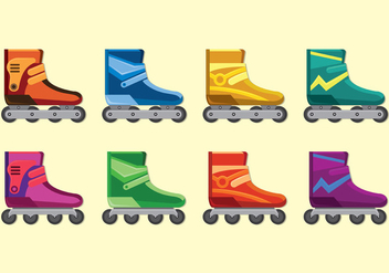 Set Of Roller Blade Icons - Free vector #399519