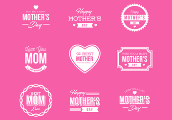 Free Mother's Day Badges and Labels Vector - Kostenloses vector #399569