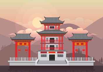 China Town Illustration - vector gratuit(e) #400869