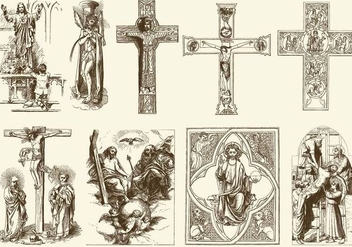 Vintage Jesus Illustrations - бесплатный vector #401109