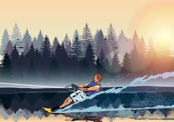 Young Man Water Skiing Vector - vector gratuit(e) #401399