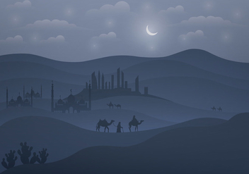 Background Of Arabian Nights - vector gratuit #402209