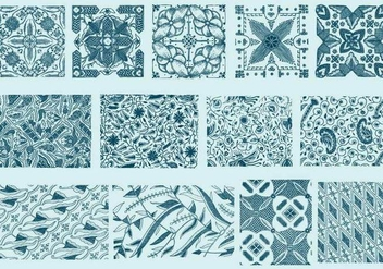 Blue Toile Textures - Free vector #402289