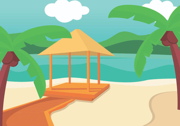 Cozy Gazebo In The Beach - Free vector #402519