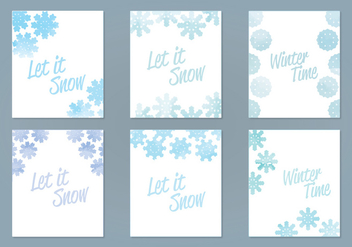 Vector Watercolor Snowflake Cards - vector gratuit(e) #403189