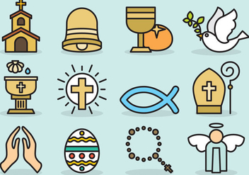 Cute Catholic Icons - Free vector #403239
