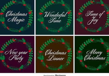 Typographic Christmas Vector Wreaths - Free vector #403639