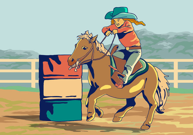 A Kid In Barrel Racing Competition Vector - Free vector #403949