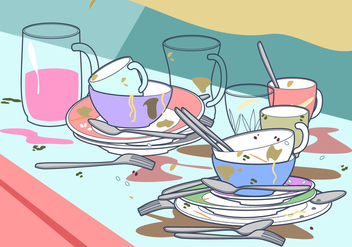 Dirty Dishes Free Vector - vector gratuit #404009