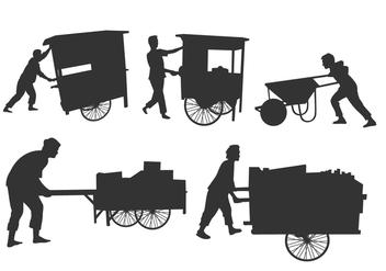 Man Pushing Silhouettes Free Vector - Kostenloses vector #404499