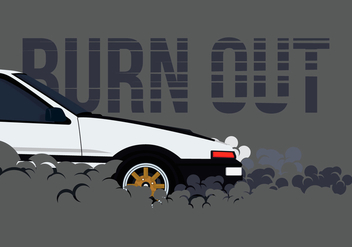 AE86 Car Drifting and Burnout Illustration - Kostenloses vector #404759