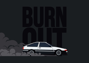 AE86 Car Drifting and Burnout Illustration - Free vector #405039