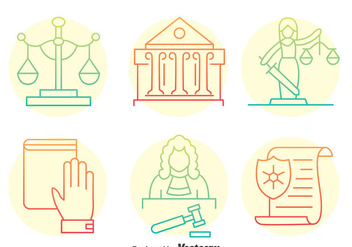 Justice Element Line Icons - vector #405149 gratis