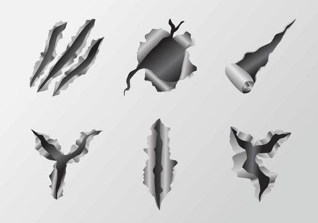 Scratch Metal Tear Vectors - бесплатный vector #405409