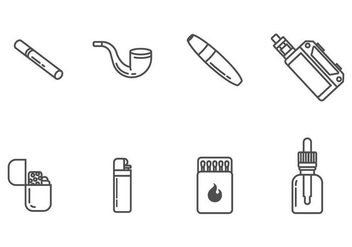 Smoking and Cigarette Icons - бесплатный vector #405509