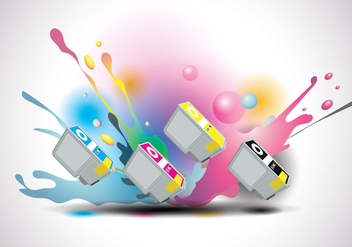 Ink Cartridge Vector with Ink Splatter Background - vector #405659 gratis