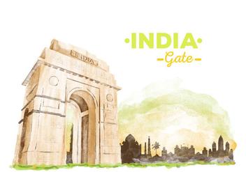 Free India Gate Watercolor Vector - бесплатный vector #405959