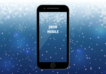 Smart Phone With Snow Season Background - vector gratuit #406519